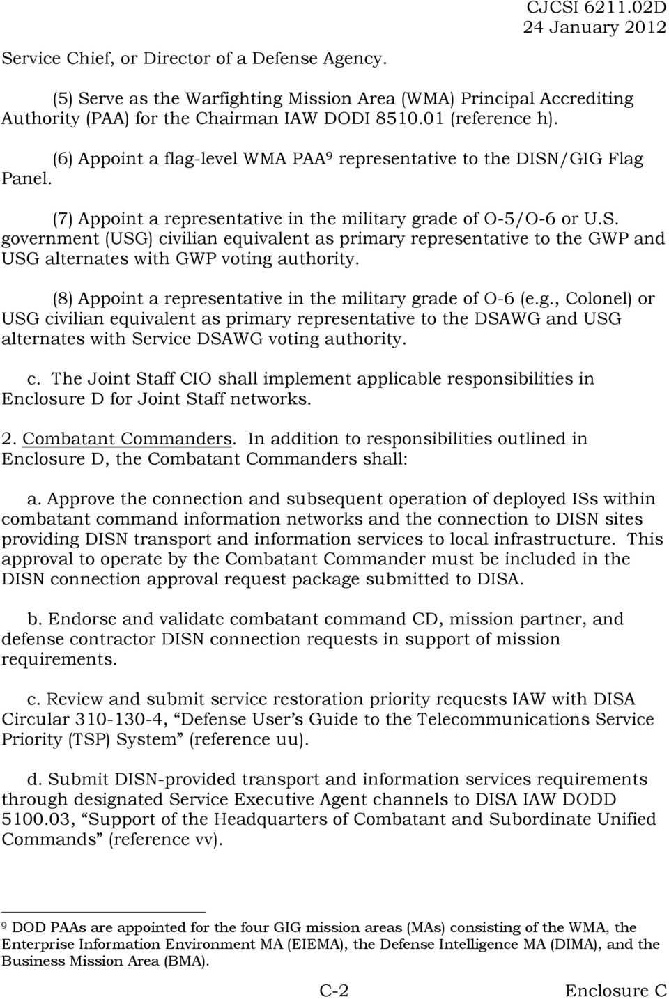(8) Appoint a representative in the military grade of O-6 (e.g., Colonel) or USG civilian equivalent as primary representative to the DSAWG and USG alternates with Service DSAWG voting authority. c. The Joint Staff CIO shall implement applicable responsibilities in Enclosure D for Joint Staff networks.