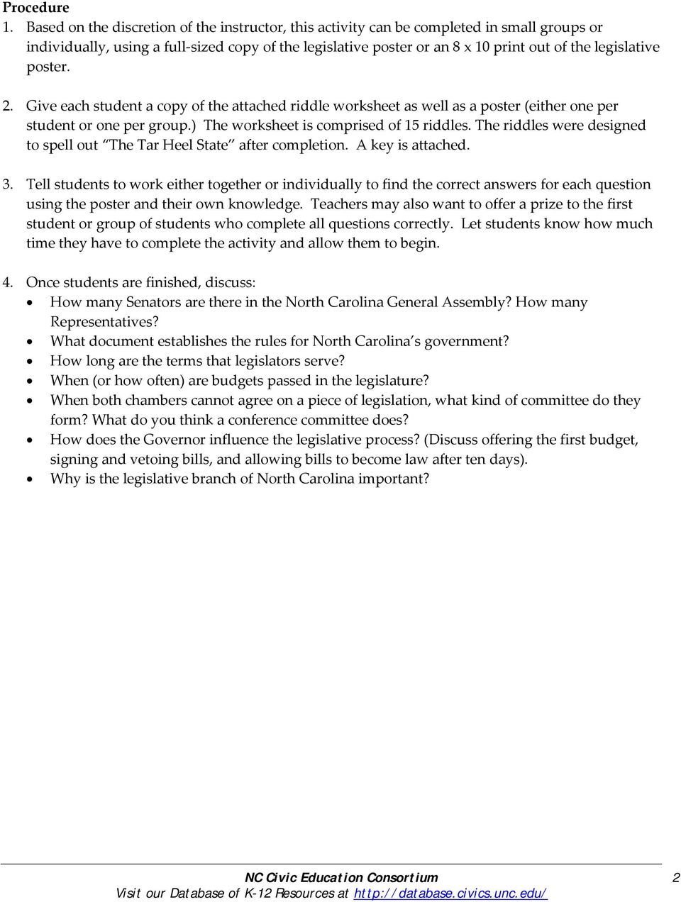 worksheet Legislative Branch Worksheet north carolina legislative branch poster riddles pdf give each student a copy of the attached riddle worksheet as well