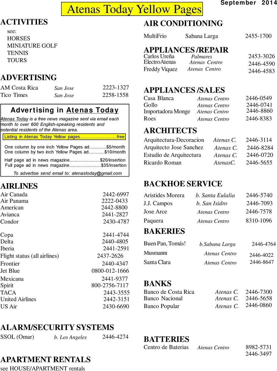 $5/month One column by two inch Yellow Pages ad.