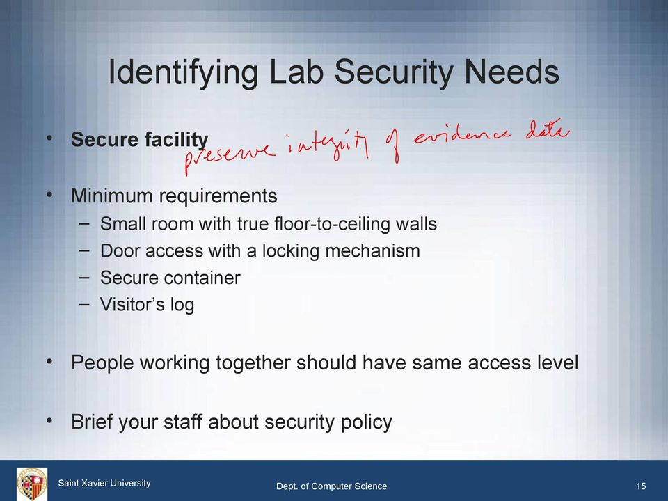 Secure container Visitor s log People working together should have same