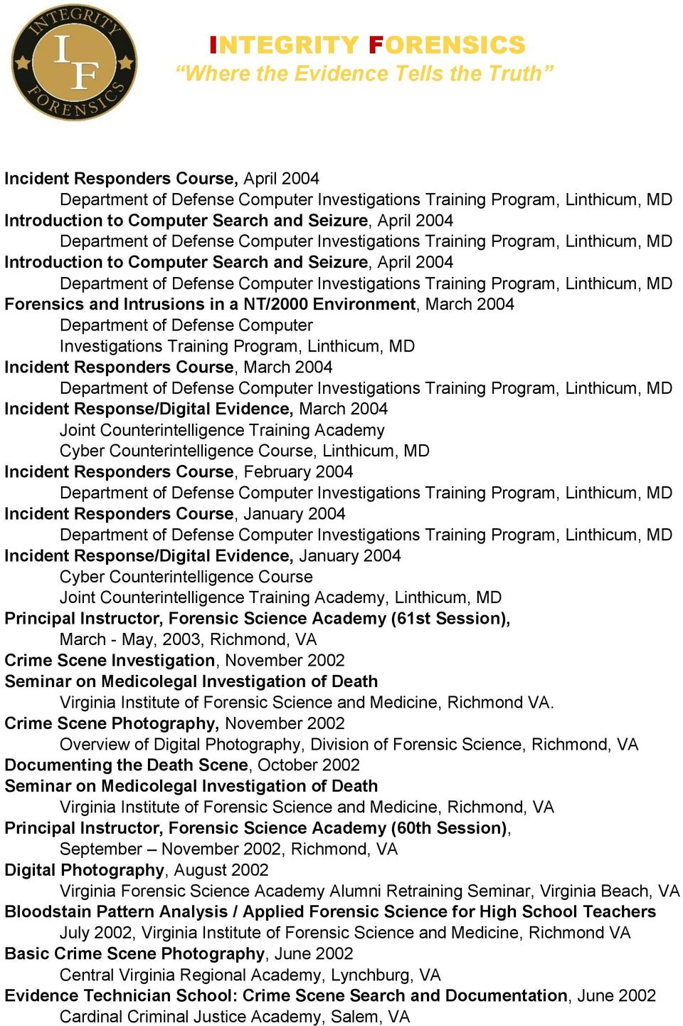Counterintelligence Training Academy Cyber Counterintelligence Course, Linthicum, MD Incident Responders Course, February 2004 Incident Responders Course, January 2004 Incident Response/Digital