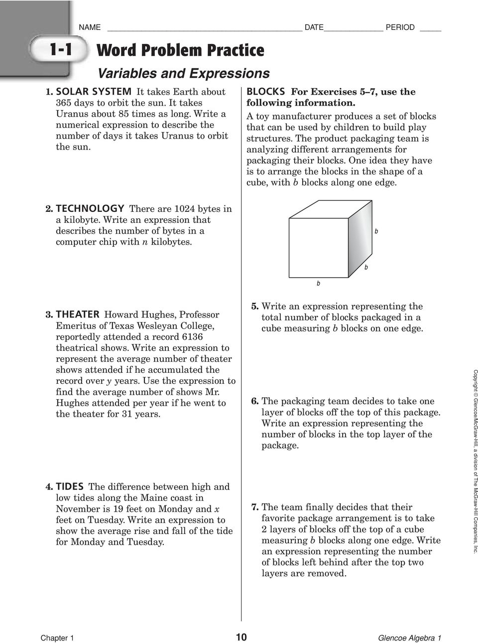 Worksheets Glencoe/mcgraw-hill Word Problem Practice Answers solving equations with variables on both sides worksheet answers 2 1 word problem practice and expressions