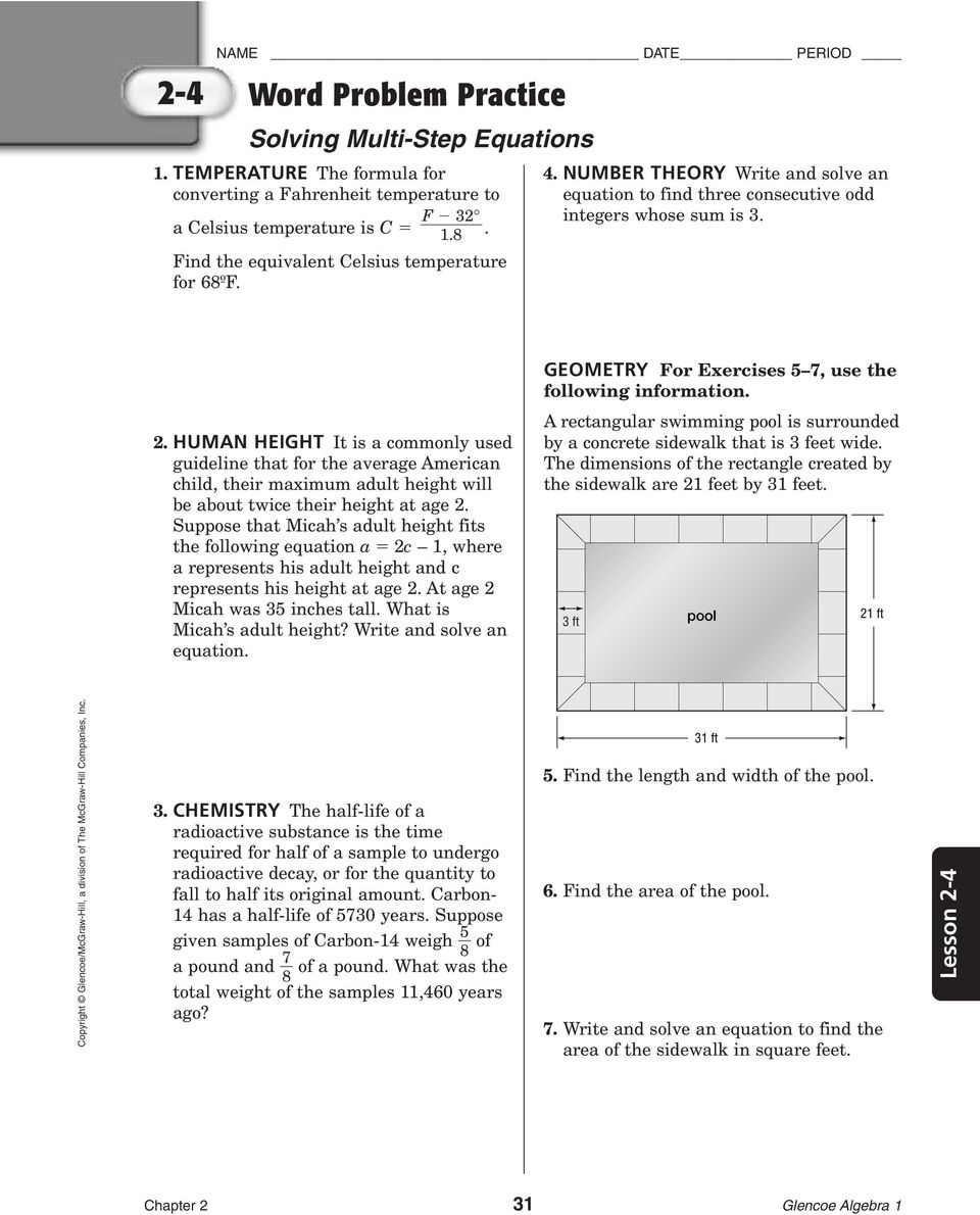 4 3 Skills Practice Solving Quadratic Equations By Factoring – Glencoe Algebra 1 Worksheets Answer Key