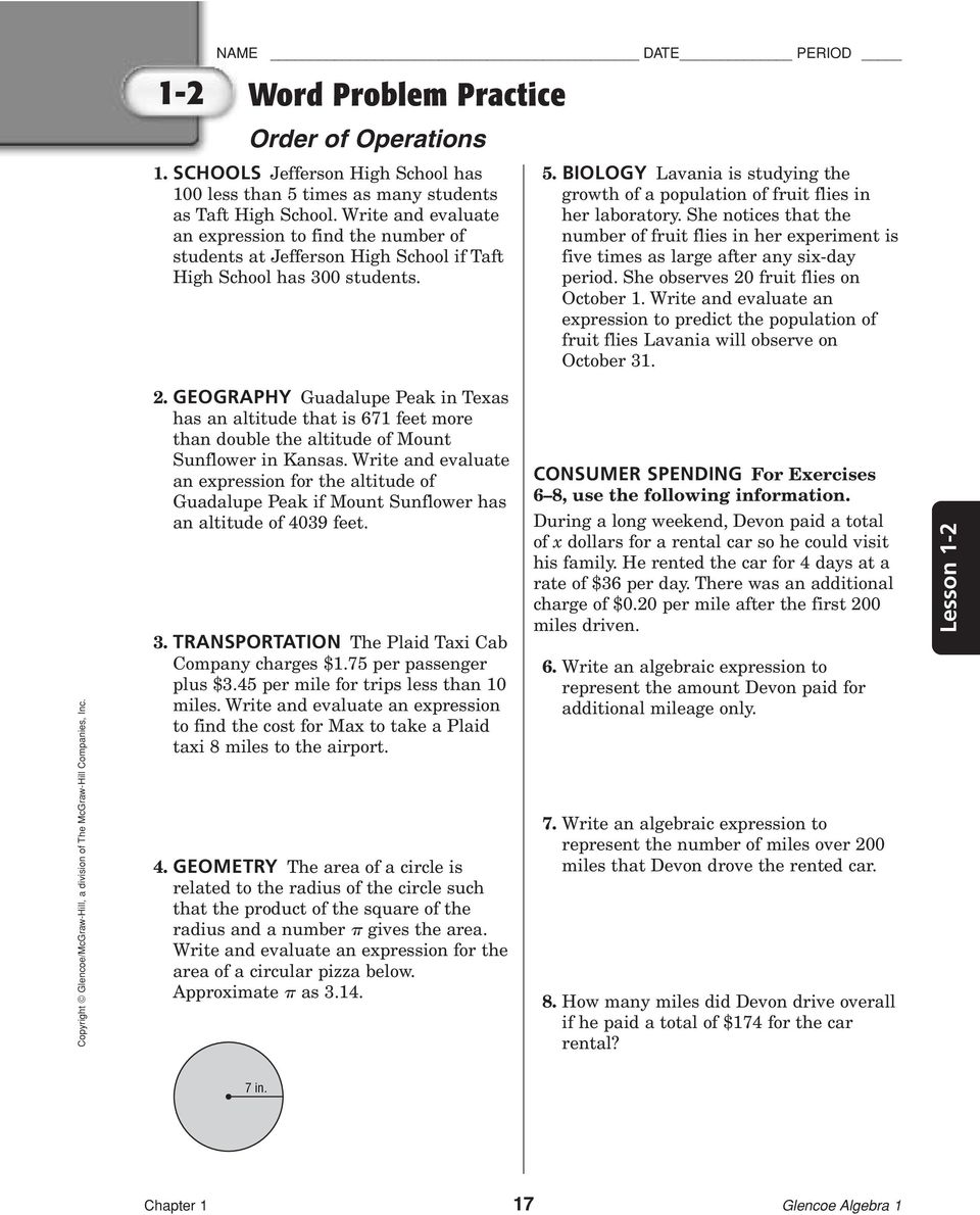 Worksheets Glencoe/mcgraw-hill Word Problem Practice Answers mcgraw hill algebra 1 worksheet answers word problems glencoe problem practice answer key chapter