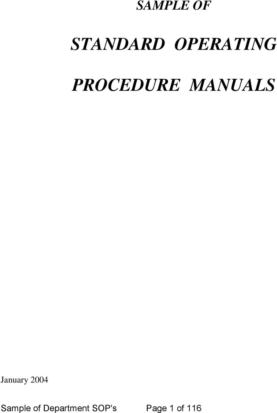 standard operating procedure manual pdf