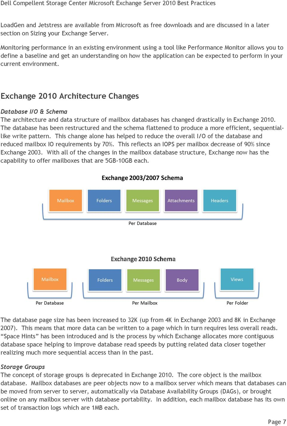 your current environment. Exchange 2010 Architecture Changes Database I/O & Schema The architecture and data structure of mailbox databases has changed drastically in Exchange 2010.