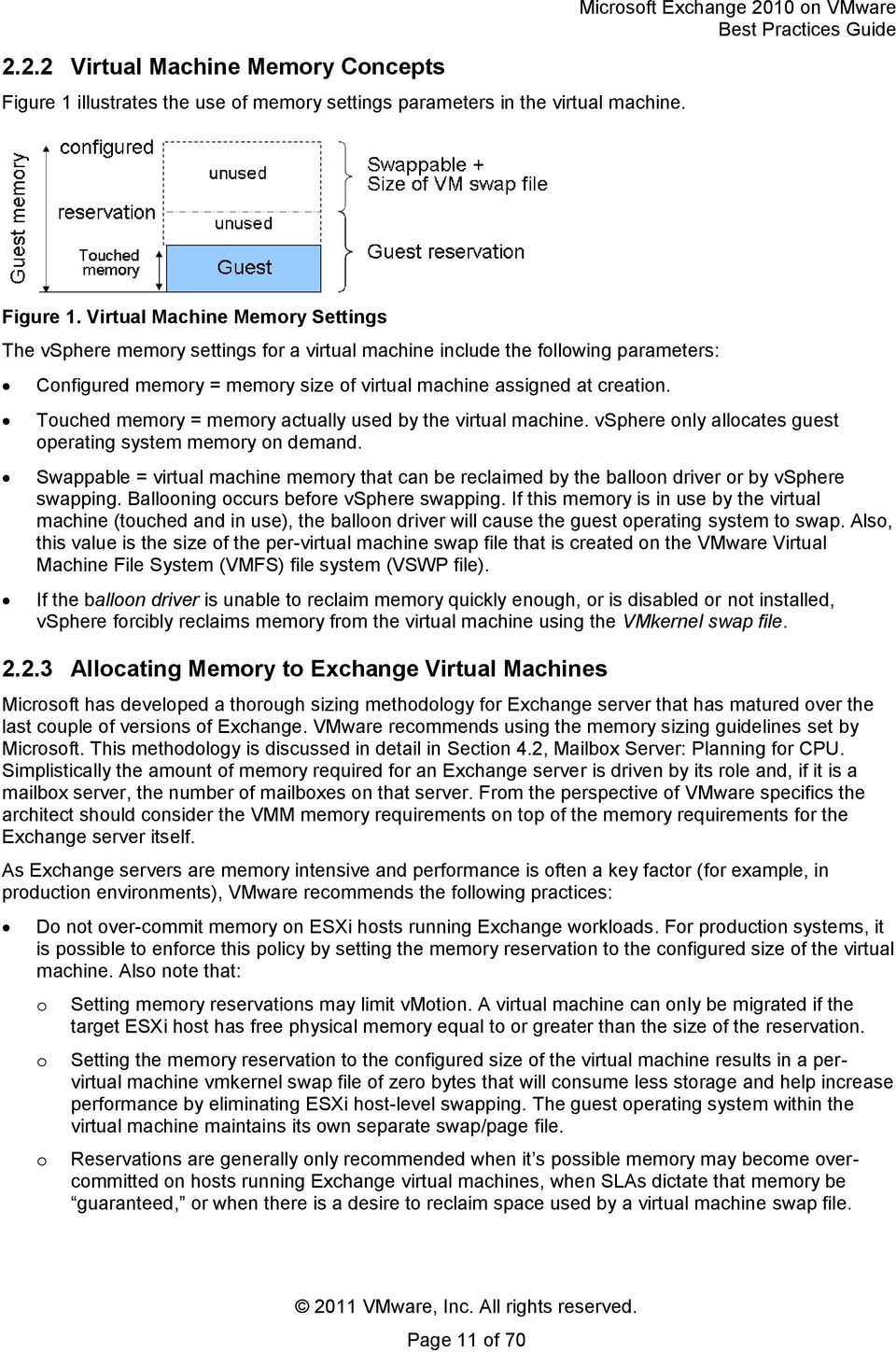 Virtual Machine Memory Settings The vsphere memory settings for a virtual machine include the following parameters: Configured memory = memory size of virtual machine assigned at creation.