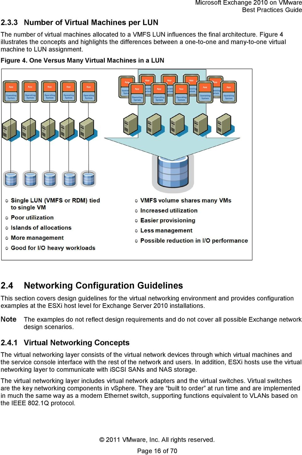 4 Networking Configuration Guidelines This section covers design guidelines for the virtual networking environment and provides configuration examples at the ESXi host level for Exchange Server 2010