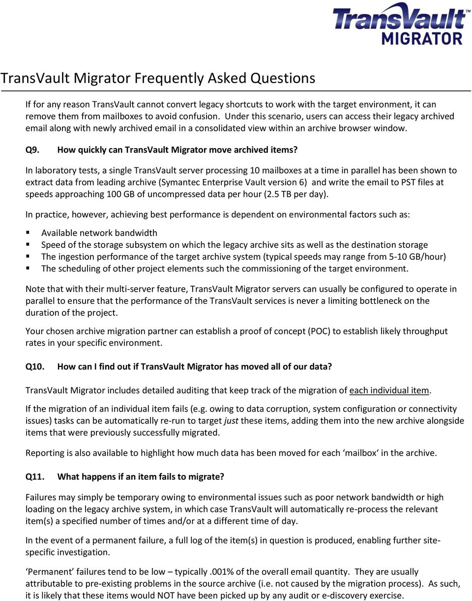 How quickly can TransVault Migrator move archived items?