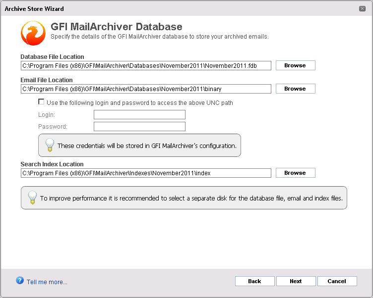 Screenshot 9: Archive Store creation: Select locations 2. Browse and select the Database File, Email File and Search Index locations to use for the GFI MailArchiver database.
