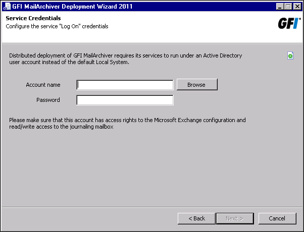 Screenshot 47: Specify Active Directory credentials 4. Specify the Active Directory credentials under which to run GFI MailArchiver services and click Next.