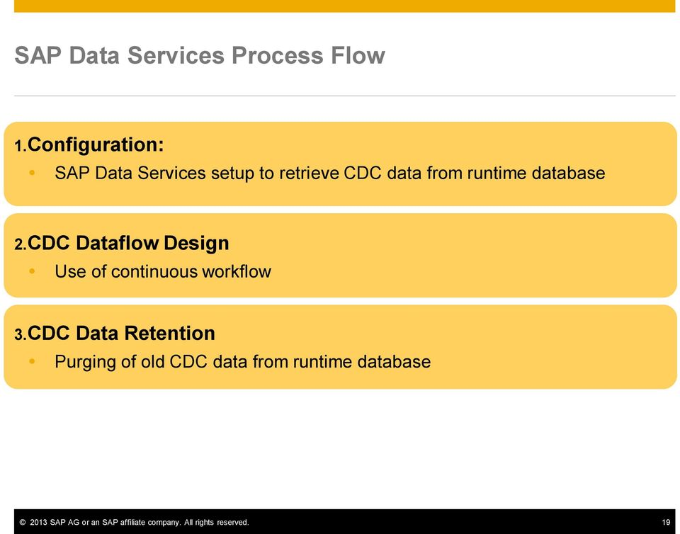 database 2.CDC Dataflow Design Use of continuous workflow 3.
