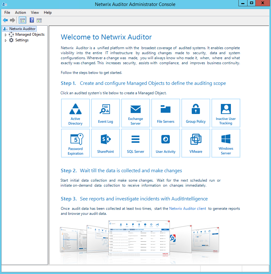 3. Install Netwrix Auditor NOTE: Netwrix recommends to install Netwrix Auditor on a workstation, not a domain controller. See Deployment Options for more information.