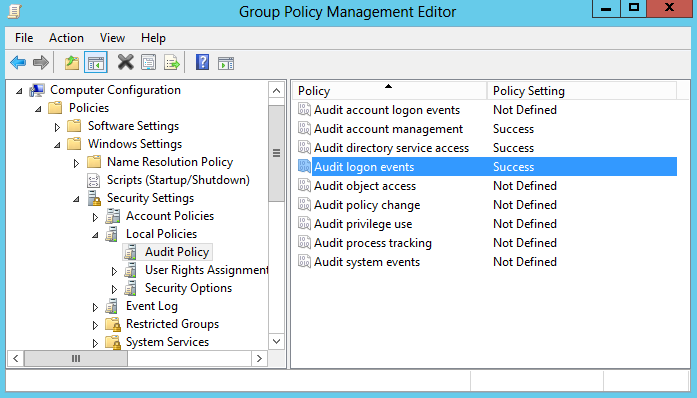 "Set the Audit logon events policy to ""Success"" (or ""Success"" and ""Failure""). NOTE: The Audit logon events policy is only required to collect the information on the originating workstation, i.e. the computer from which a change was made."