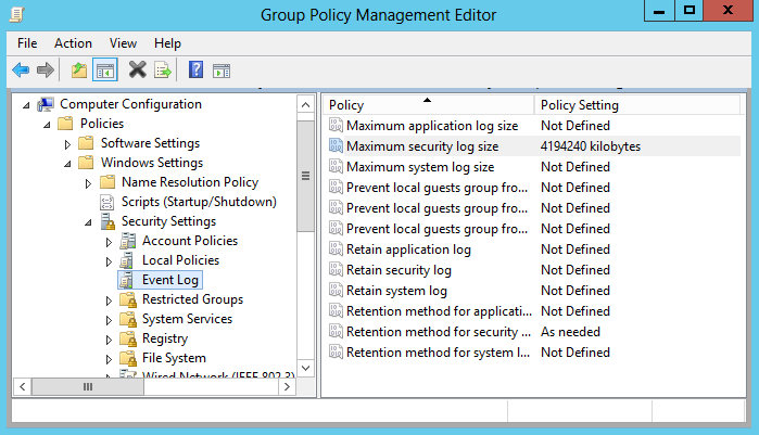 To increase the maximum size of the Security event log and set its retention method 1.
