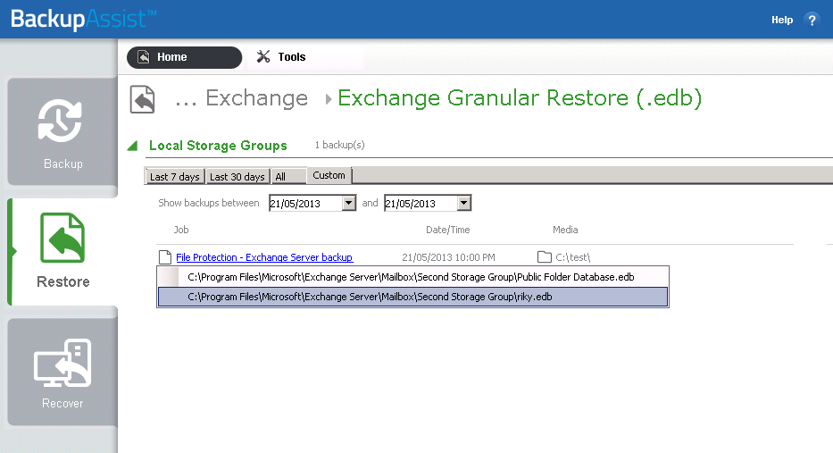 c) From the Restore > Exchange screen, select (.edb) Figure 5: Restore Exchange page - selection screen Backups made with BackupAssist 7.