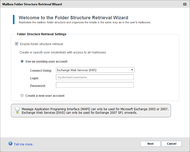 Screenshot 66: Enable folder structure retrieval 3. Select Enable folder structure retrieval. 4. Select whether to automatically create a new user account or whether to use an existing user account.