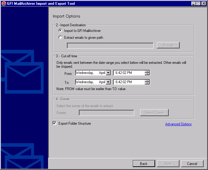 Screenshot 97: Import from Microsoft Exchange: Configure import options 5.