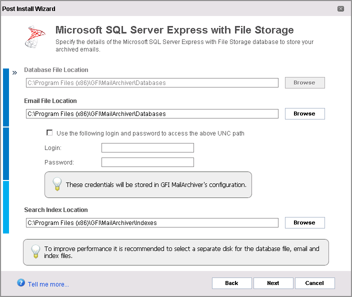 Screenshot 21: Archive Store creation: Select locations 8. Provide the file locations required for the type of selected SQL Server type.
