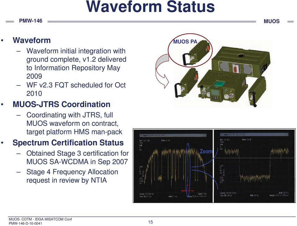 3 FQT scheduled for Oct 2010 -JTRS Coordination Coordinating with JTRS, full waveform on contract, target platform