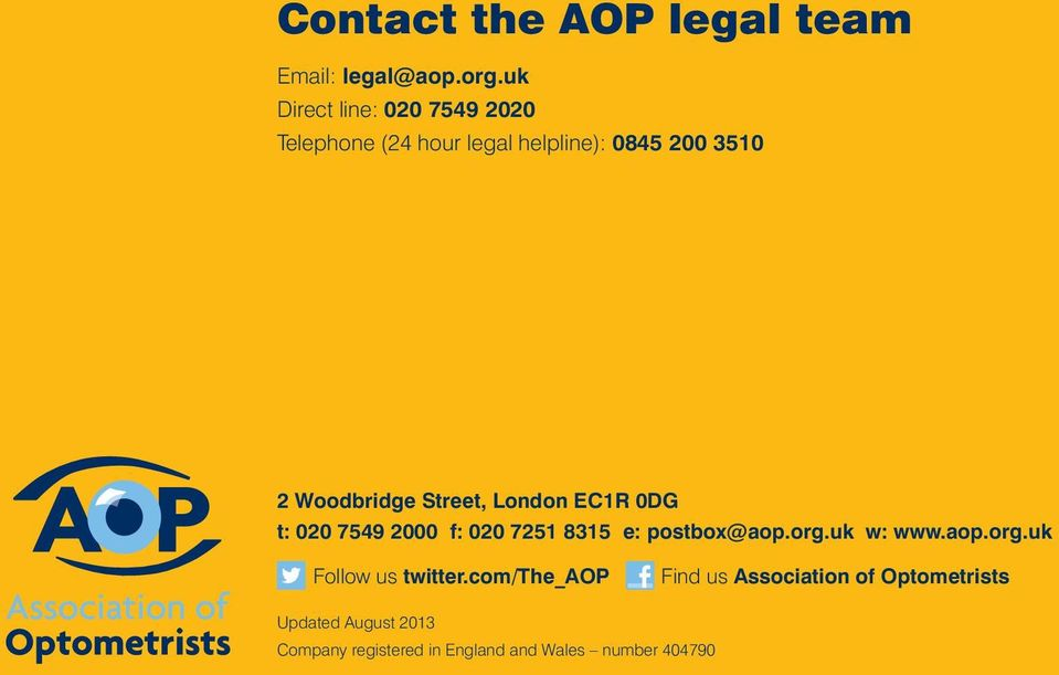 Street, London EC1R 0DG t: 020 7549 2000 f: 020 7251 8315 e: postbox@aop.org.