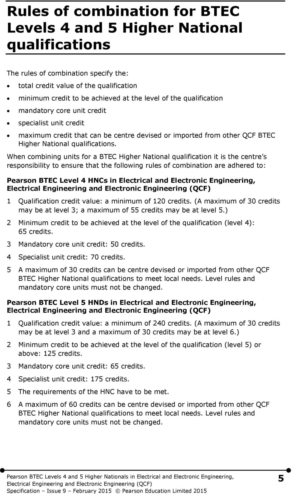 When combining units for a BTEC Higher National qualification it is the centre s responsibility to ensure that the following rules of combination are adhered to: Pearson BTEC Level 4 HNCs in