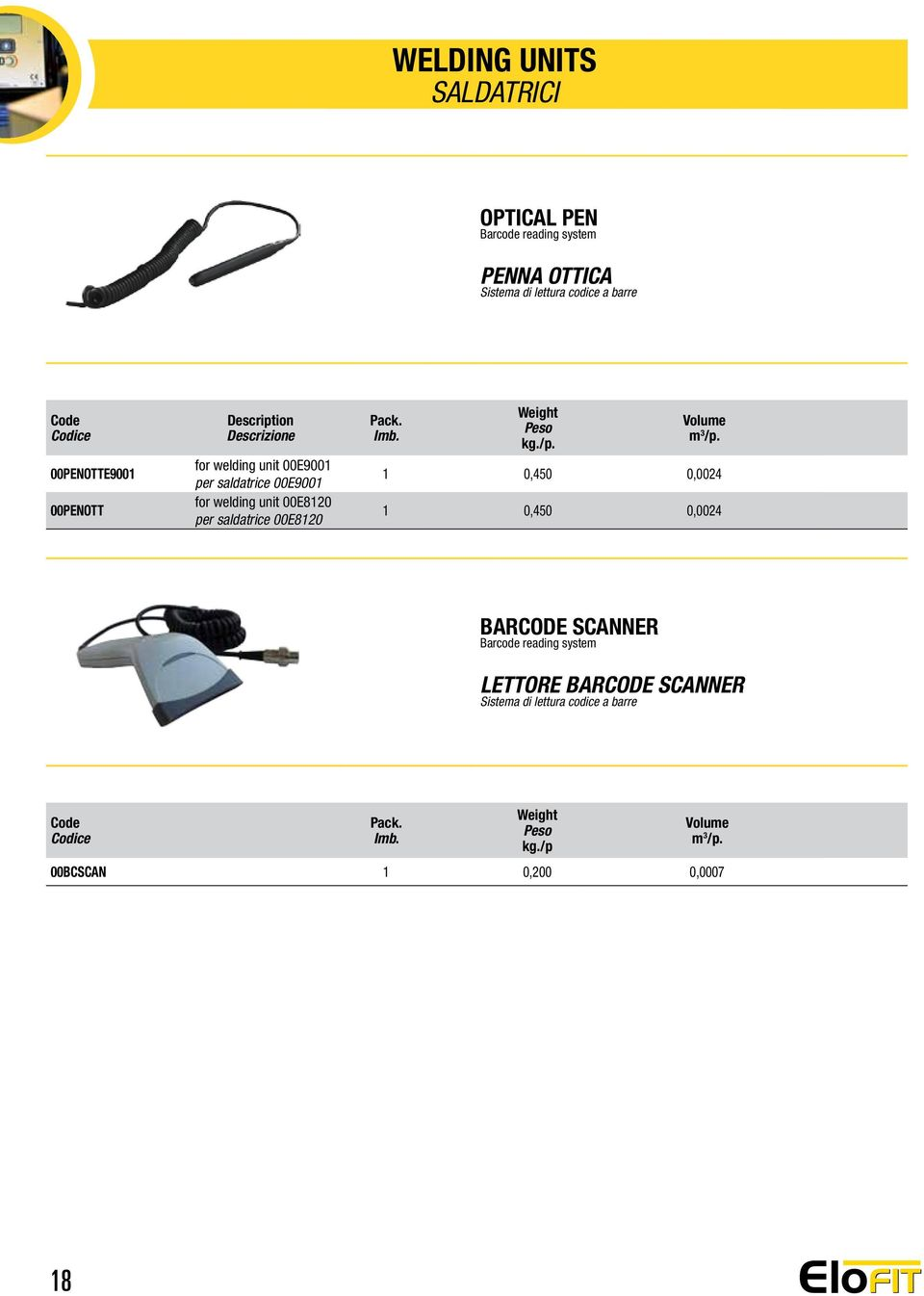 for welding unit 00E8120 per saldatrice 00E8120 1 0,450 0,0024 1 0,450 0,0024 BARCODE SCANNER Barcode
