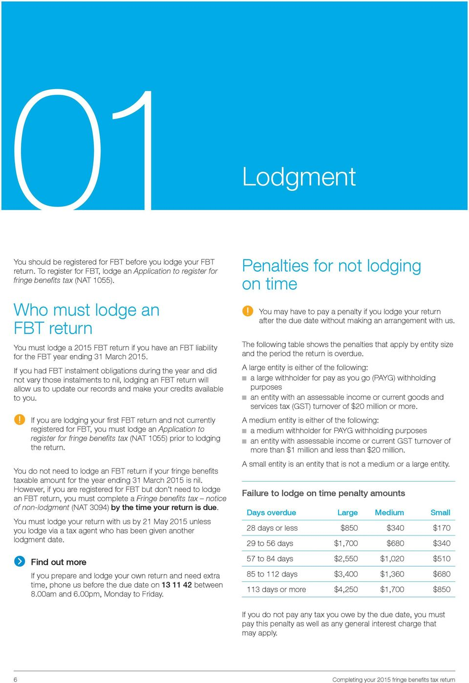 lodging an FBT return will allow us to update our records and make your credits available to you If you are lodging your first FBT return and not currently registered for FBT, you must lodge an