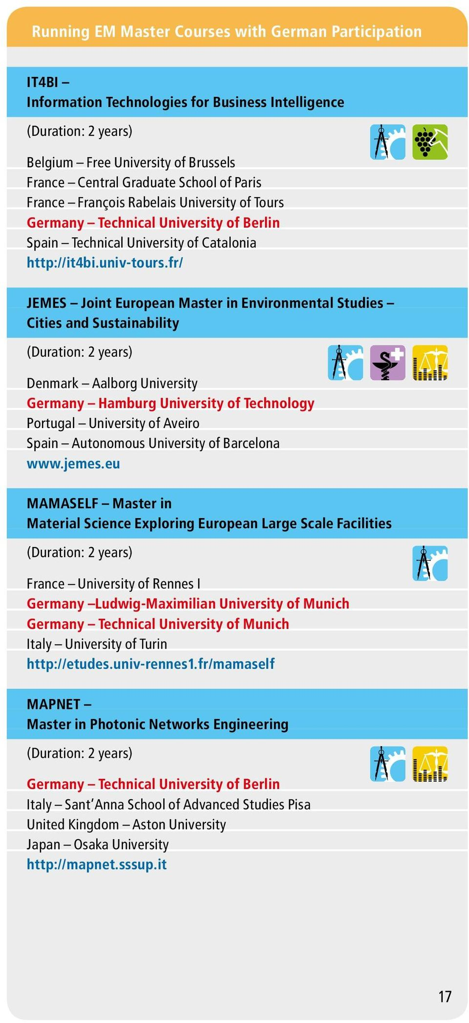 fr/ JEMES Joint European Master in Environmental Studies Cities and Sustainability Denmark Aalborg University Germany Hamburg University of Technology Portugal University of Aveiro Spain Autonomous