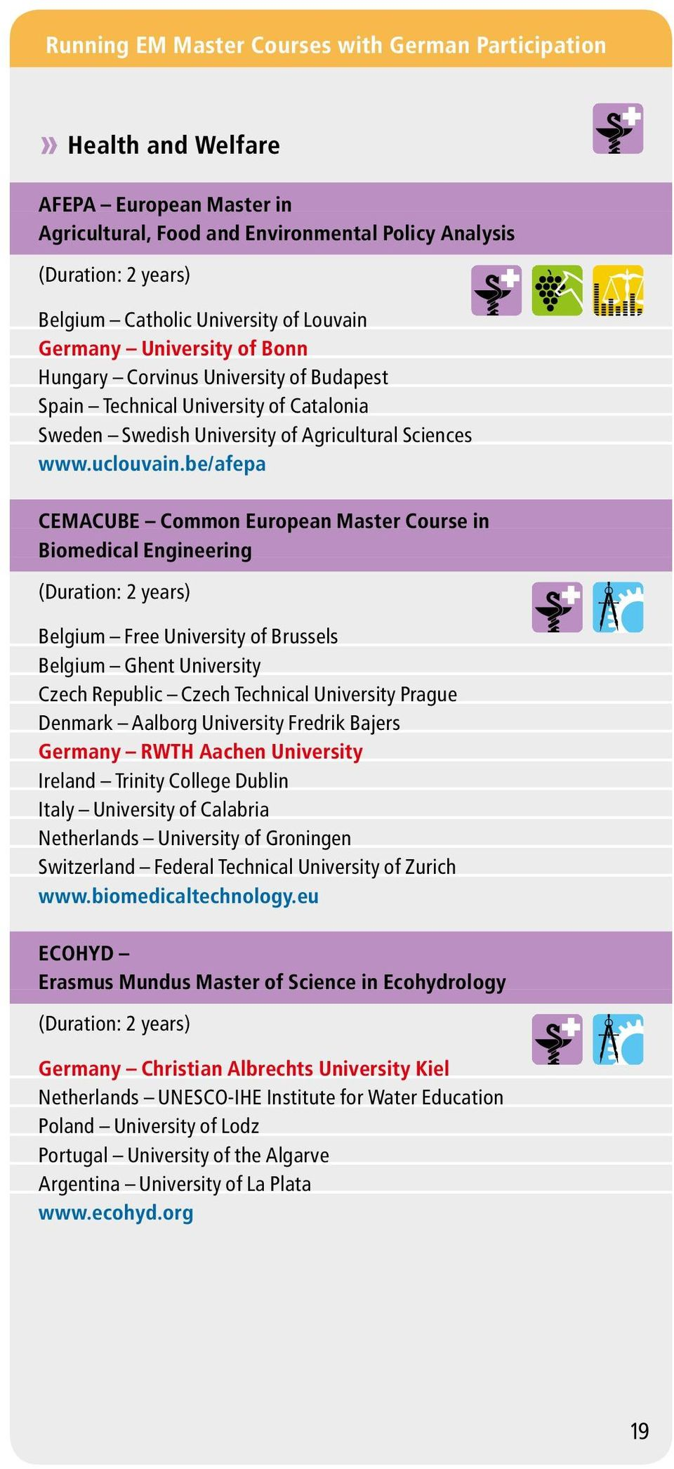 be/afepa CEMACUBE Common European Master Course in Biomedical Engineering Belgium Free University of Brussels Belgium Ghent University Czech Republic Czech Technical University Prague Denmark Aalborg