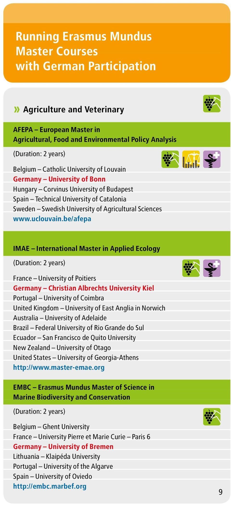 be/afepa IMAE International Master in Applied Ecology France University of Poitiers Germany Christian Albrechts University Kiel Portugal University of Coimbra United Kingdom University of East Anglia