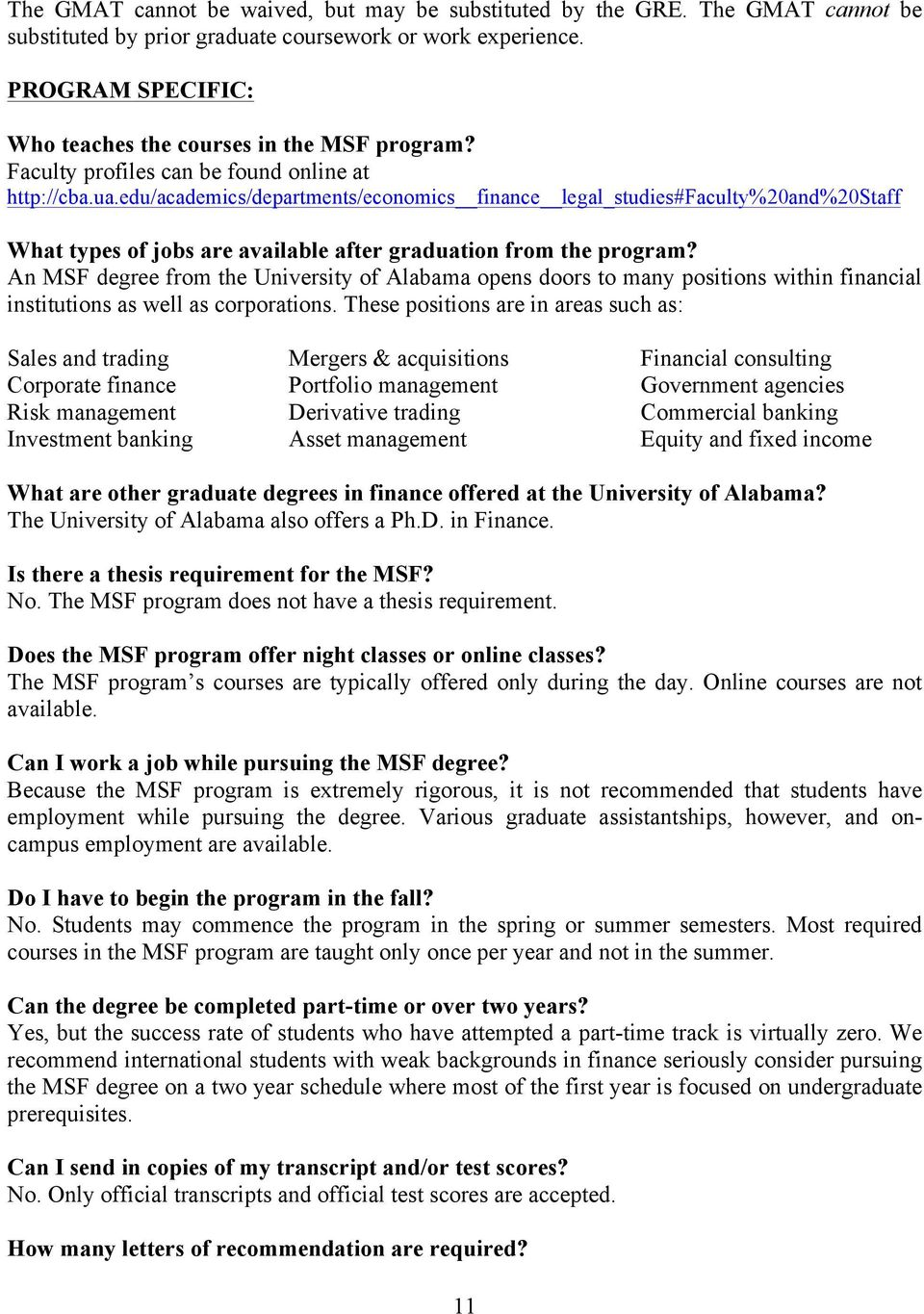 edu/academics/departments/economics finance legal_studies#faculty%20and%20staff What types of jobs are available after graduation from the program?