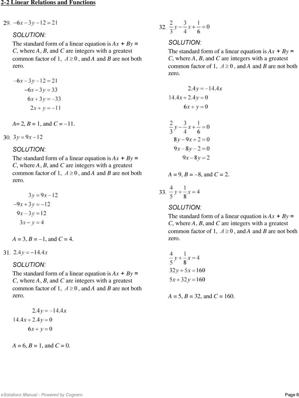 2 2 linear relations and functions so the function is linear a 3 b 1 and c 4 31 a falaconquin