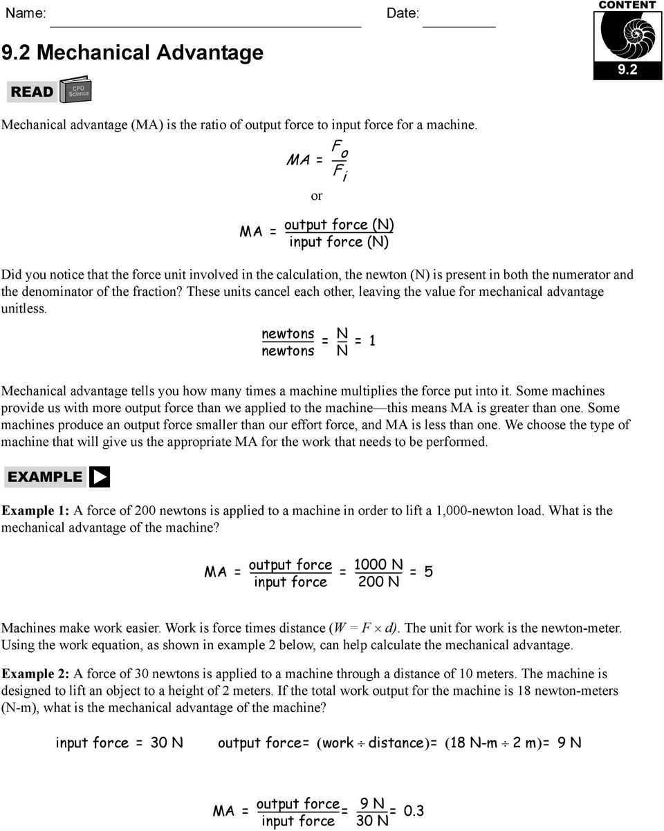 worksheet Calculating Mechanical Advantage Worksheet With Answers 7 1 potential and kinetic energy pdf numerator the denominator of fraction these units cancel each other leaving the