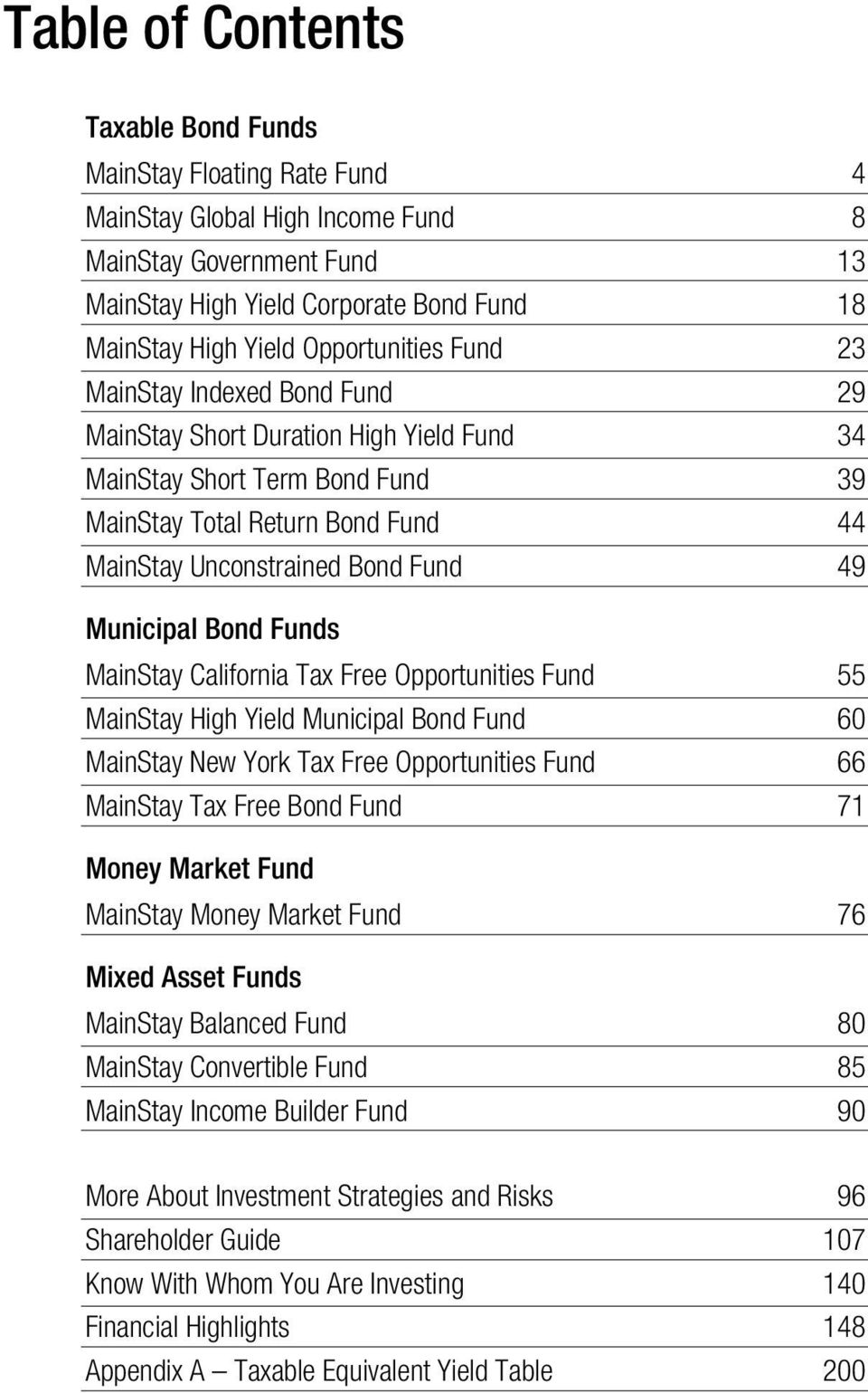 Municipal Bond Funds MainStay California Tax Free Opportunities Fund 55 MainStay High Yield Municipal Bond Fund 60 MainStay New York Tax Free Opportunities Fund 66 MainStay Tax Free Bond Fund 71