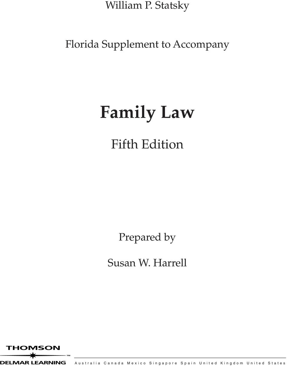 Family Law Fifth Edition Prepared by Susan