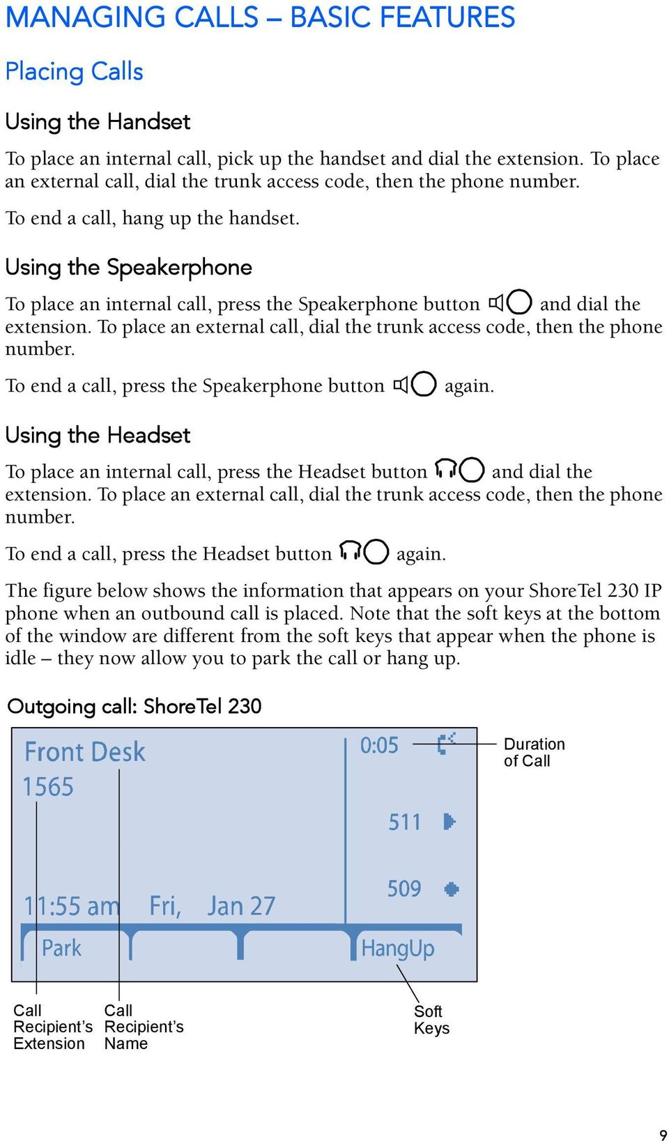 Using the Speakerphone To place an internal call, press the Speakerphone button and dial the extension. To place an external call, dial the trunk access code, then the phone number.