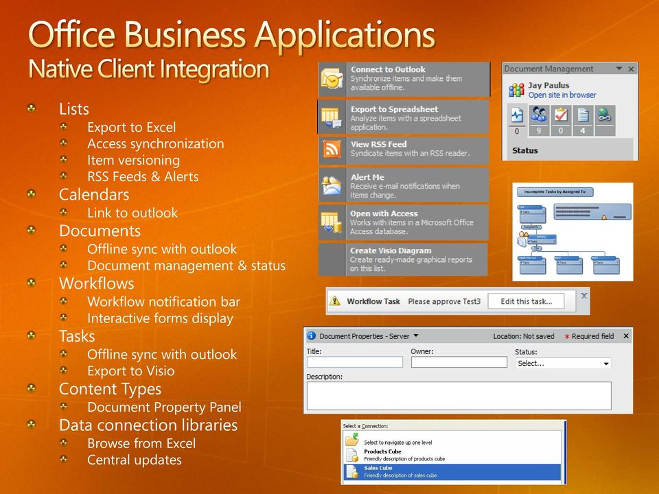 notification bar Interactive forms display Tasks Offline sync with outlook Export to Visio