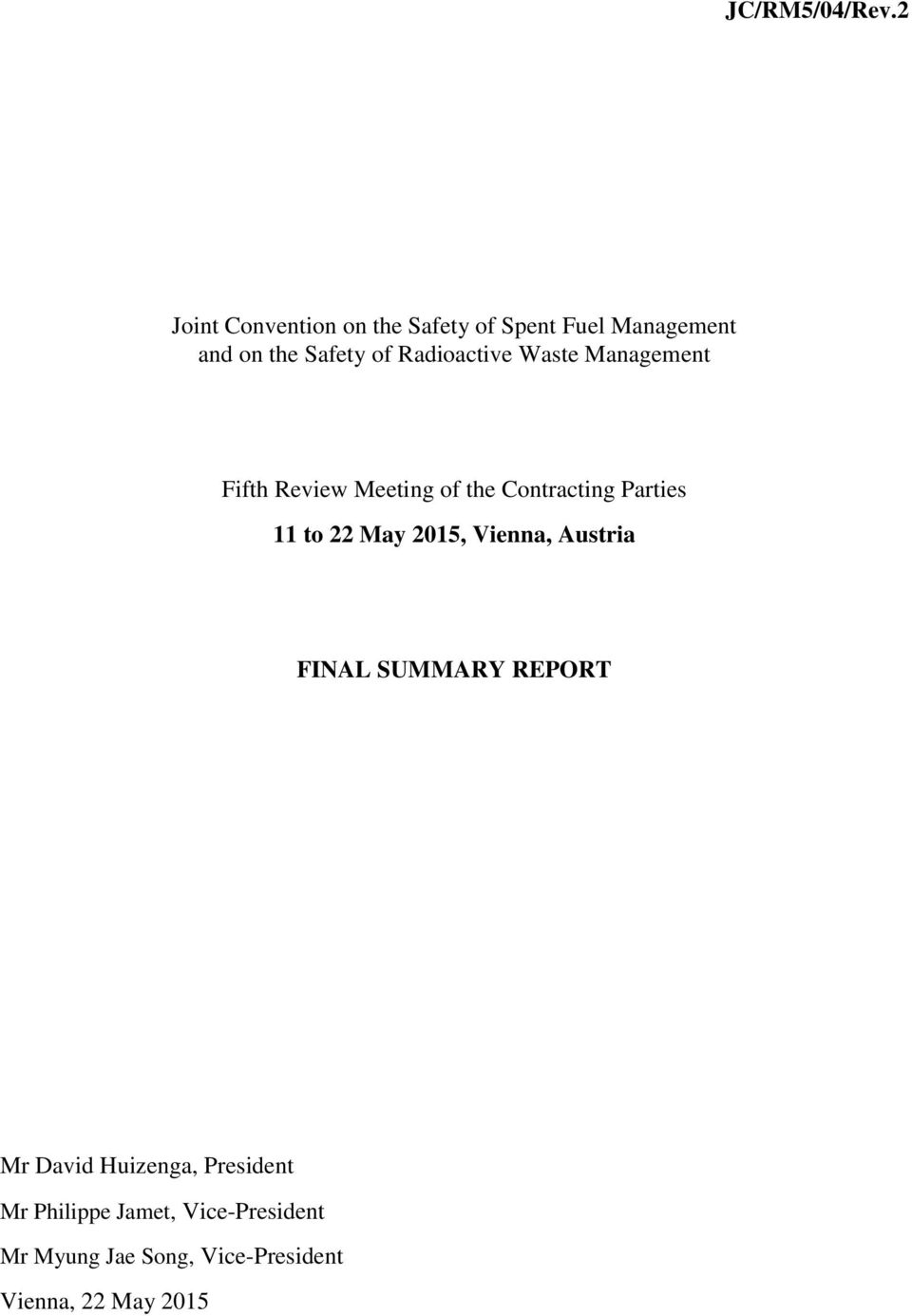 Radioactive Waste Management Fifth Review Meeting of the Contracting Parties 11 to 22