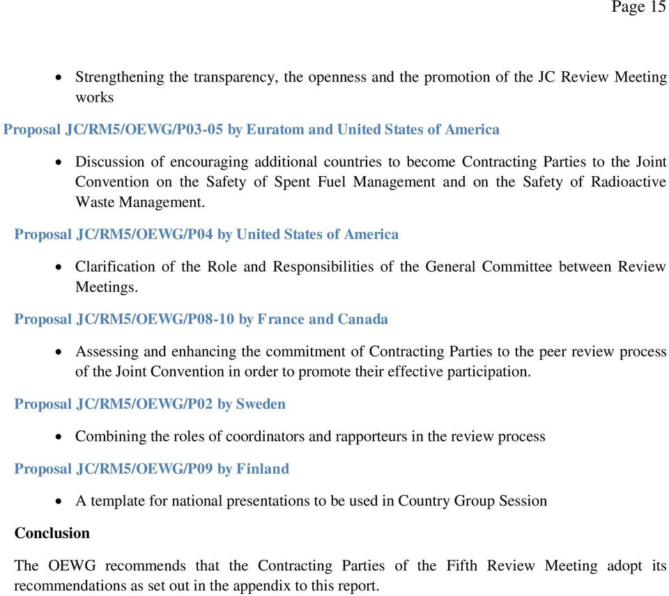 Proposal JC/RM5/OEWG/P04 by United States of America Clarification of the Role and Responsibilities of the General Committee between Review Meetings.