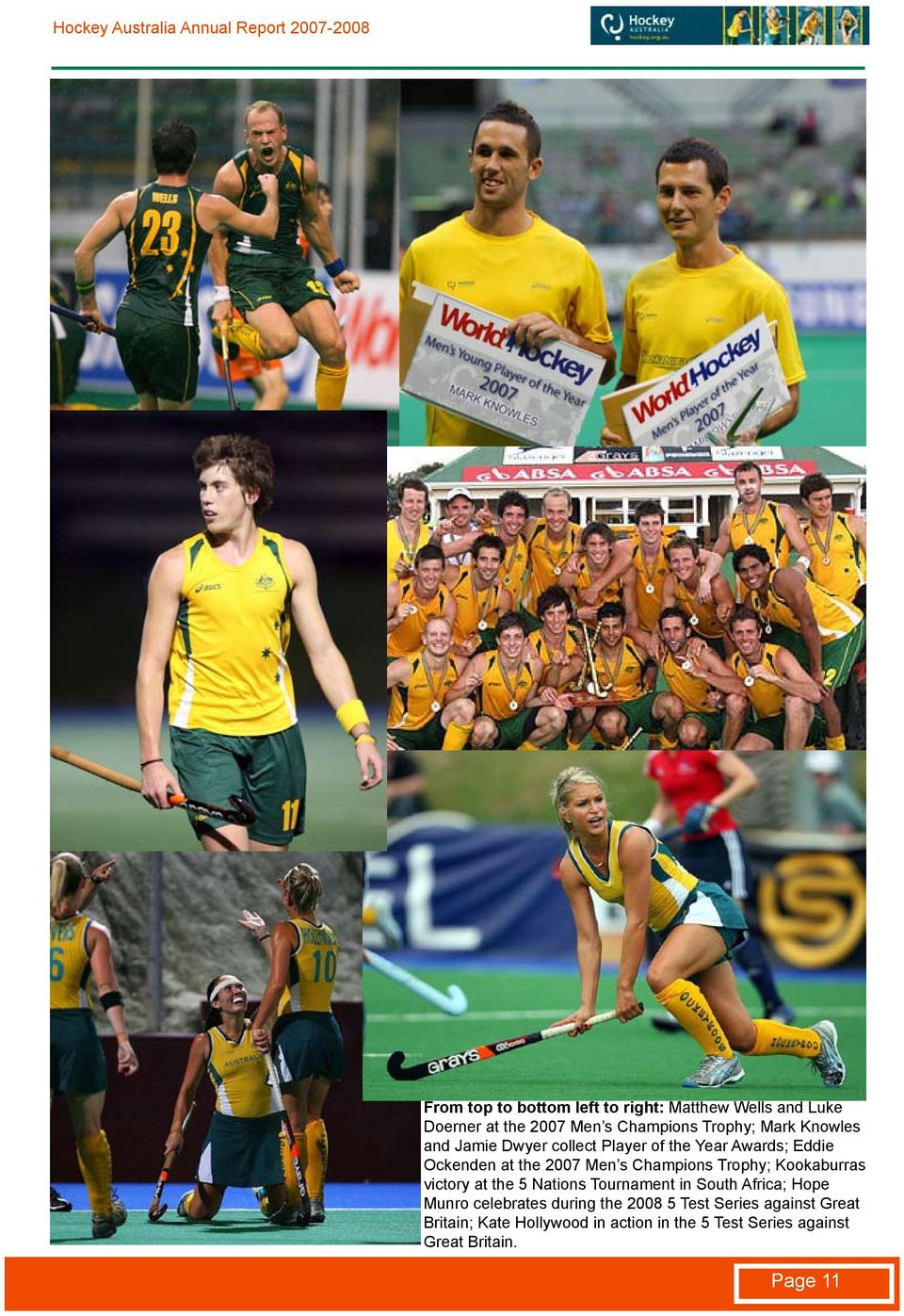 Trophy; Kookaburras victory at the 5 Nations Tournament in South Africa; Hope Munro celebrates during the