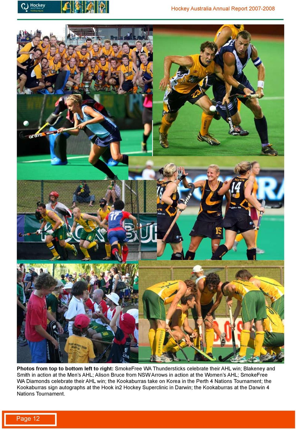 celebrate their AHL win; the Kookaburras take on Korea in the Perth 4 Nations Tournament; the Kookaburras sign