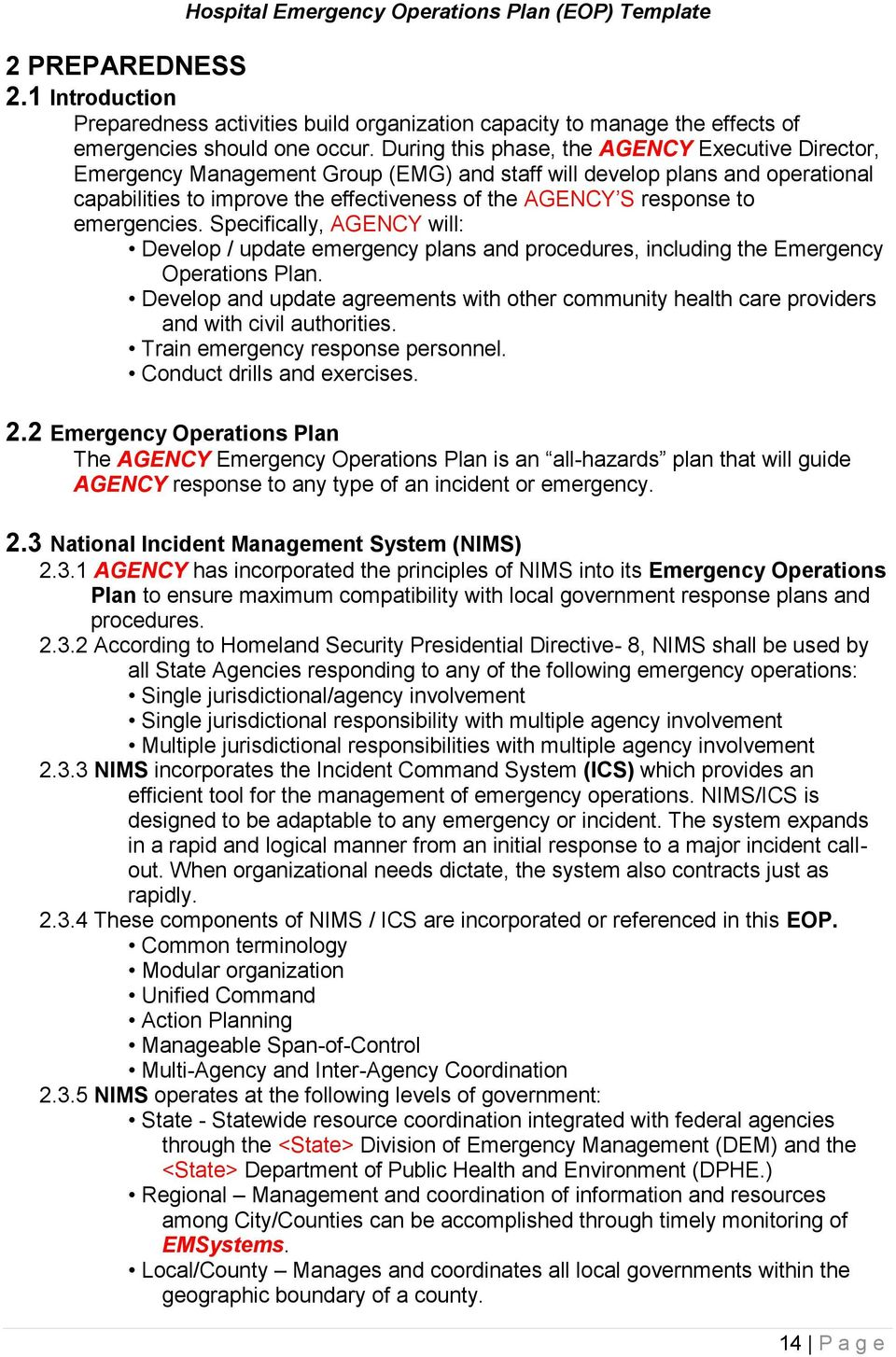 State Emergency Operations Plan