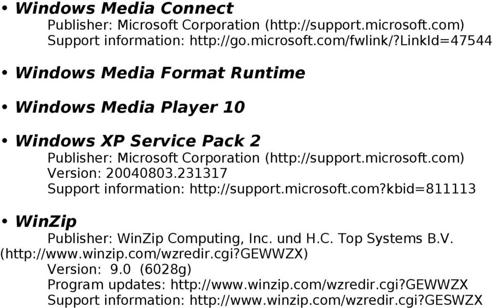 231317 Support information: http://support.microsoft.com?kbid=811113 WinZip Publisher: WinZip Computing, Inc. und H.C. Top Systems B.V.