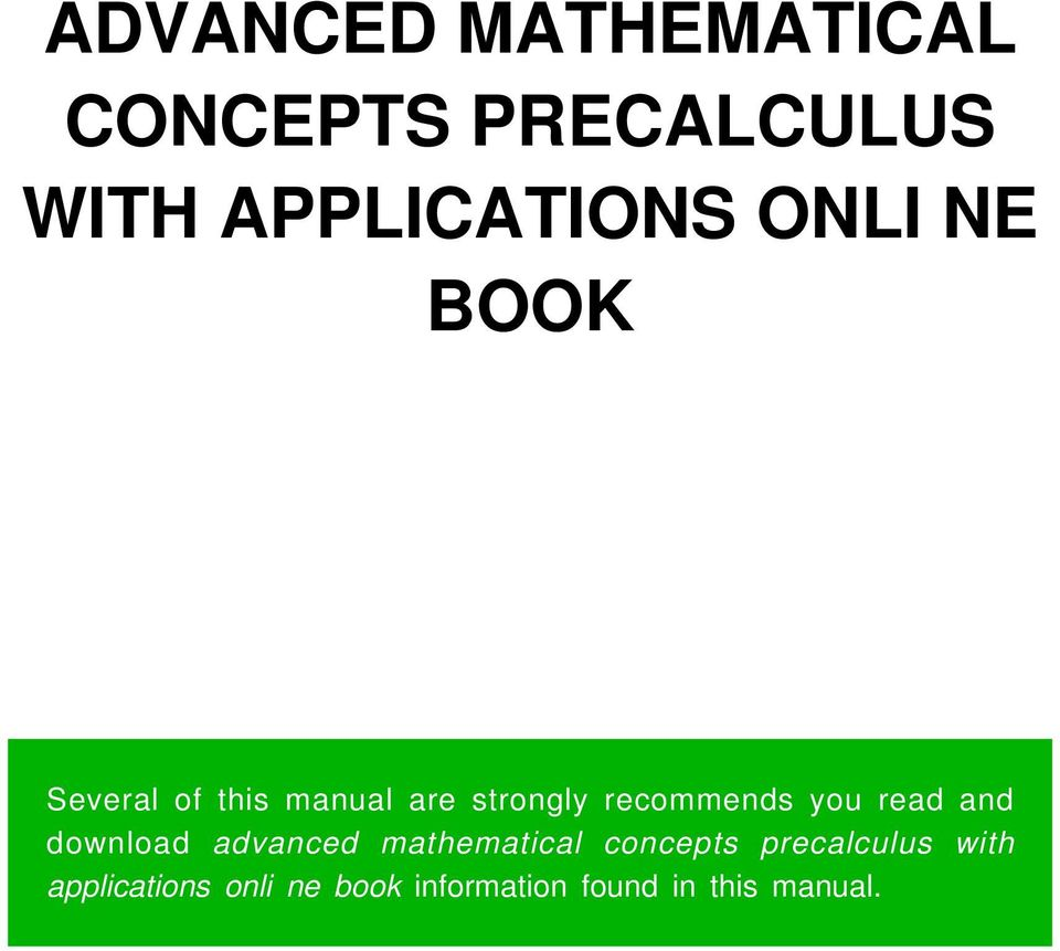 you read and download advanced mathematical concepts