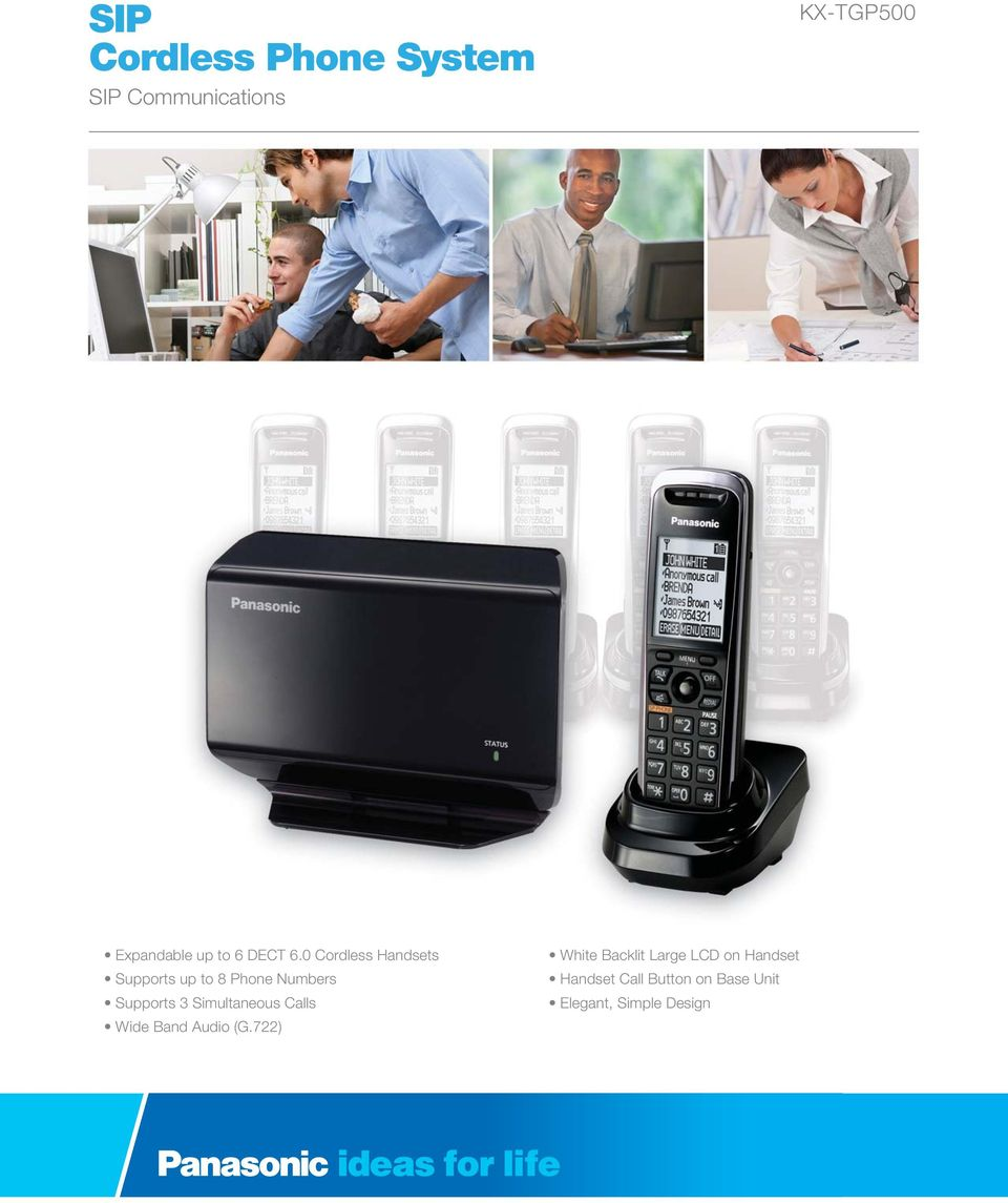 0 Cordless Handsets Supports up to 8 Phone Numbers Supports 3