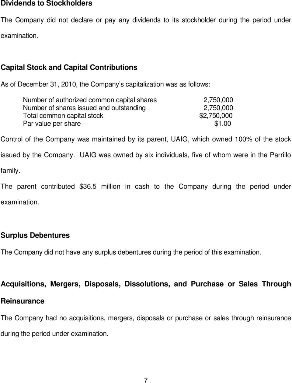 outstanding 2,750,000 Total common capital stock $2,750,000 Par value per share $1.00 Control of the Company was maintained by its parent, UAIG, which owned 100% of the stock issued by the Company.