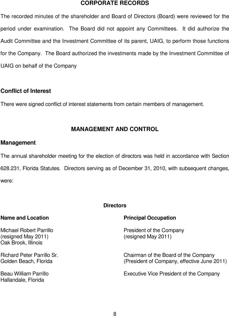 The Board authorized the investments made by the Investment Committee of UAIG on behalf of the Company Conflict of Interest There were signed conflict of interest statements from certain members of