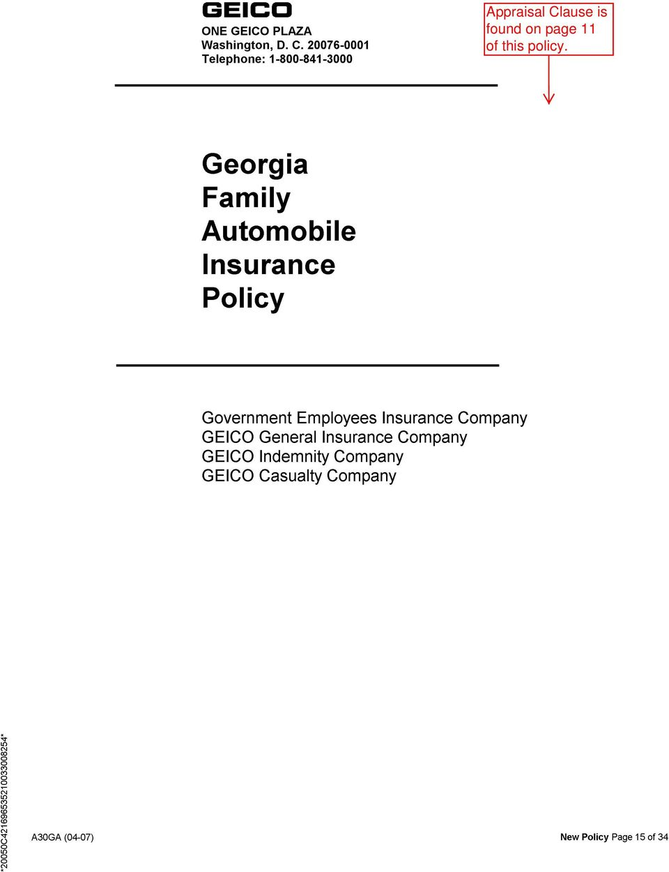 Policy Government Employees Insurance Company GEICO General Insurance