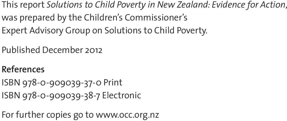 Solutions to Child Poverty.